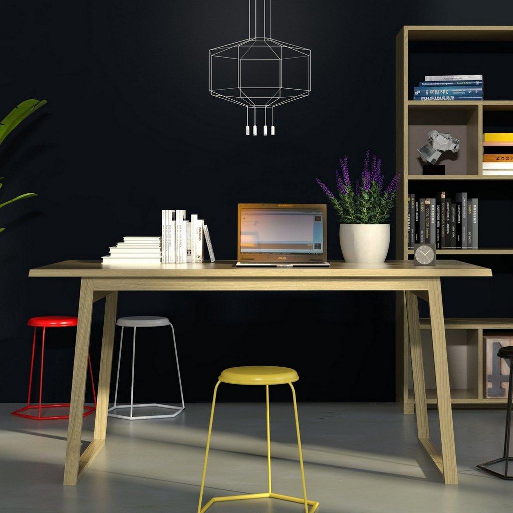 дизайнерские рабочие и письменные столы в интерьере, домашний мини-офис