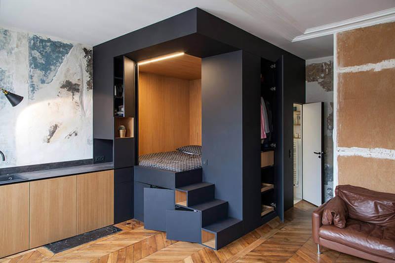 маленькая квартира-студия, идеи для квартиры студии, Batiik Studio