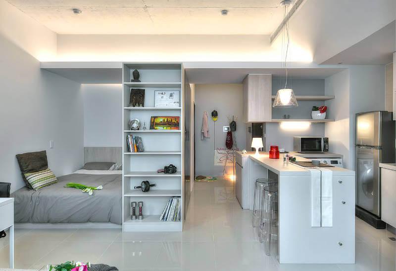маленькие квартиры-студии с вместительным шкафом