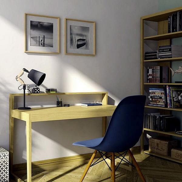 Мебель из дуба для рабочего домашнего офиса. Стол и стеллаж, компактные удобные современные дизайнерские продукты