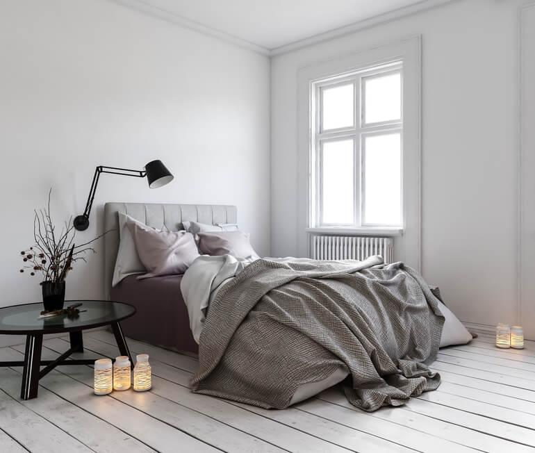 интерьер спальни в стиле хюгге. ничего лишнего