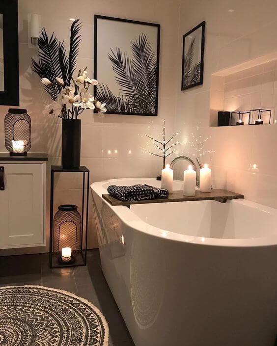 освещение ванной  в стиле хюгге