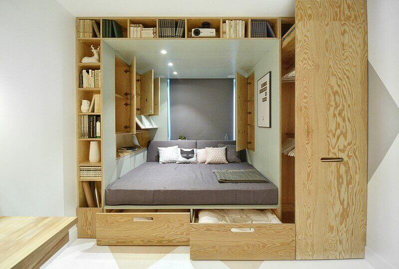 идеи компактной спальни в маленькой квартире