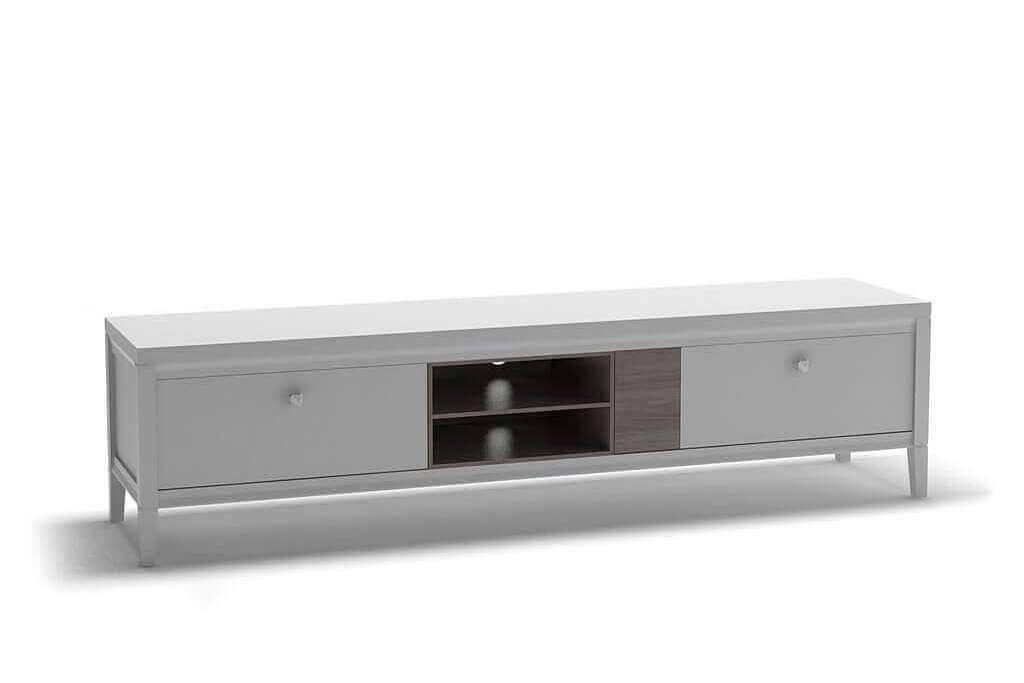 белые длинные дизайнерские тумбы под телевизор